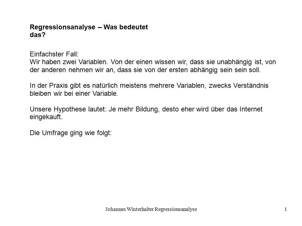 Johannes Winterhalter Regressionsanalyse2 Welchen Schul- und Berufsabschluss haben Sie.
