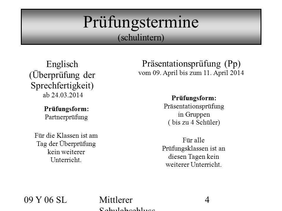 09 Y 06 SLMittlerer Schulabschluss 4 Prüfungstermine (schulintern) Englisch (Überprüfung der Sprechfertigkeit) ab 24.03.2014 Für die Klassen ist am Ta
