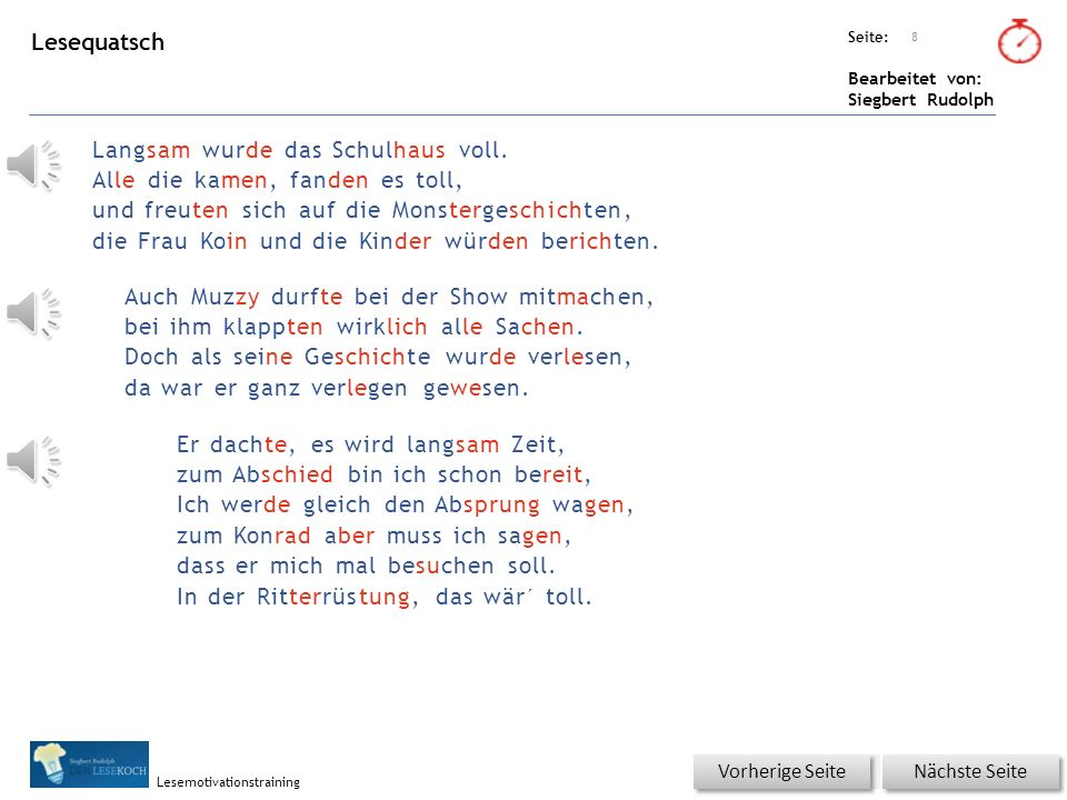 Übungsart: Seite: Bearbeitet von: Siegbert Rudolph Lesemotivationstraining Es war ihm peinlich.