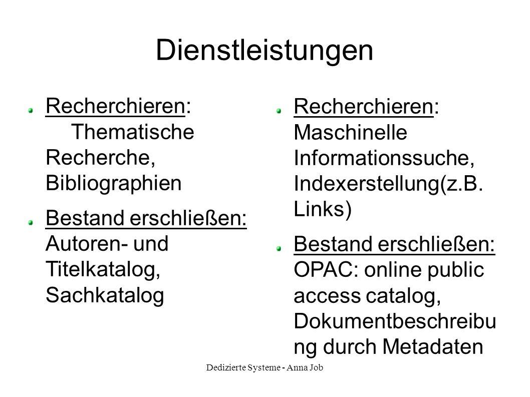 Dedizierte Systeme - Anna Job Dienstleistungen Recherchieren: Thematische Recherche, Bibliographien Bestand erschließen: Autoren- und Titelkatalog, Sa