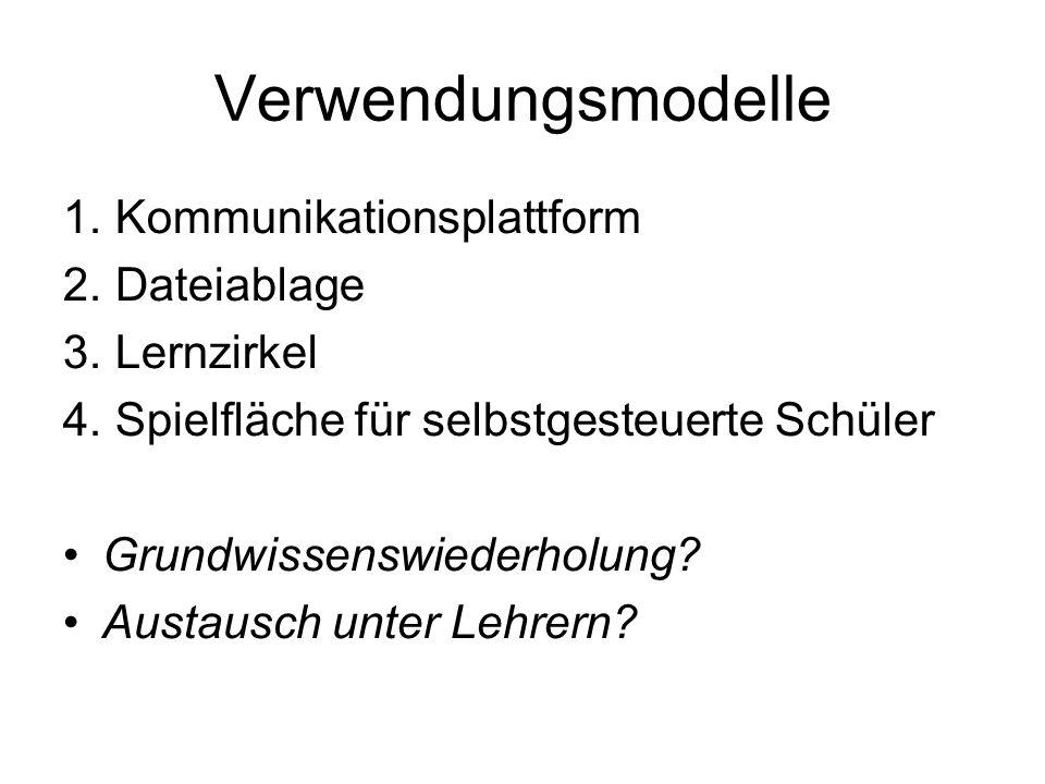 Verwendungsmodelle 1. Kommunikationsplattform 2. Dateiablage 3.