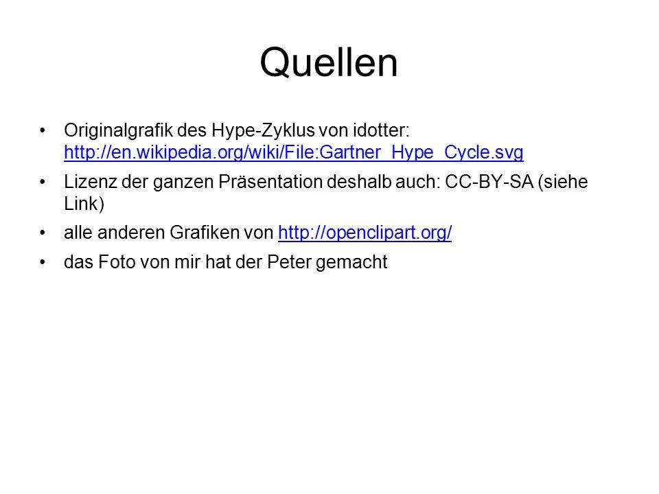 Quellen Originalgrafik des Hype-Zyklus von idotter: http://en.wikipedia.org/wiki/File:Gartner_Hype_Cycle.svg http://en.wikipedia.org/wiki/File:Gartner_Hype_Cycle.svg Lizenz der ganzen Präsentation deshalb auch: CC-BY-SA (siehe Link) alle anderen Grafiken von http://openclipart.org/http://openclipart.org/ das Foto von mir hat der Peter gemacht