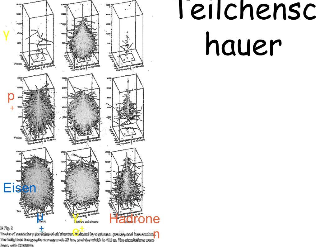 Teilchensc hauer γ p+p+ Eisen γ, e ± µ±µ± Hadrone n