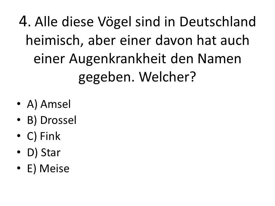 4. Alle diese Vögel sind in Deutschland heimisch, aber einer davon hat auch einer Augenkrankheit den Namen gegeben. Welcher? A) Amsel B) Drossel C) Fi