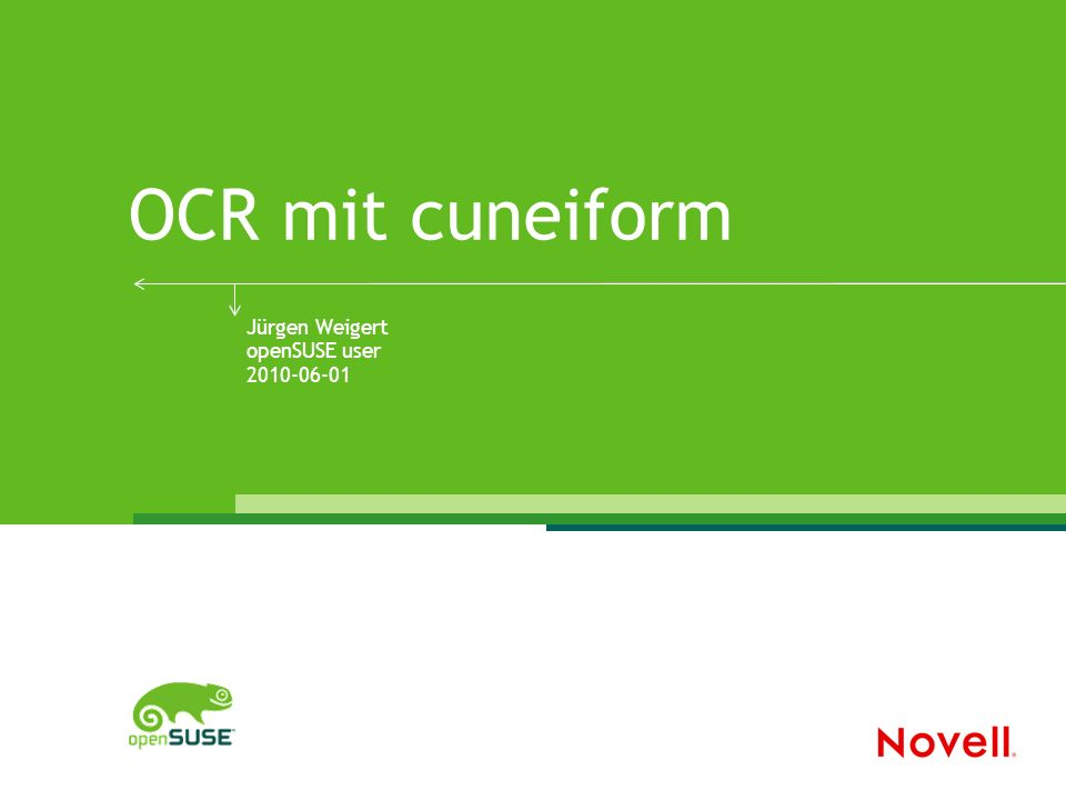 © 9/22/2016 Novell Inc.2 OCR – Optical Character Recognition Was gibt es für Linux.