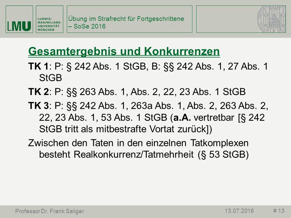 # 1313.07.2016 Professor Dr. Frank Saliger Gesamtergebnis und Konkurrenzen TK 1: P: § 242 Abs.