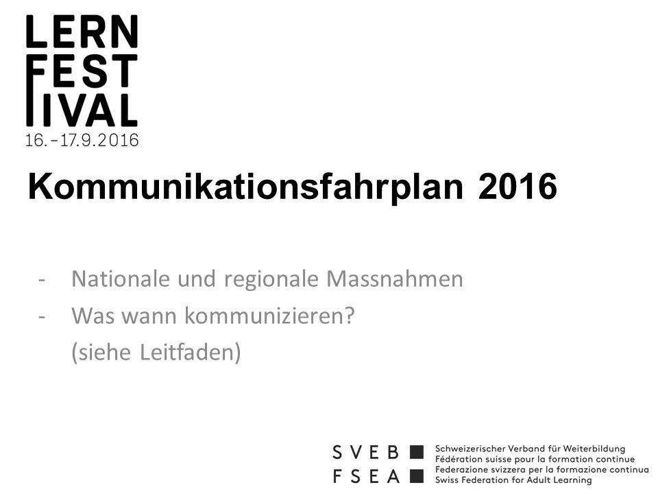 Kommunikationsfahrplan 2016 -Nationale und regionale Massnahmen -Was wann kommunizieren.