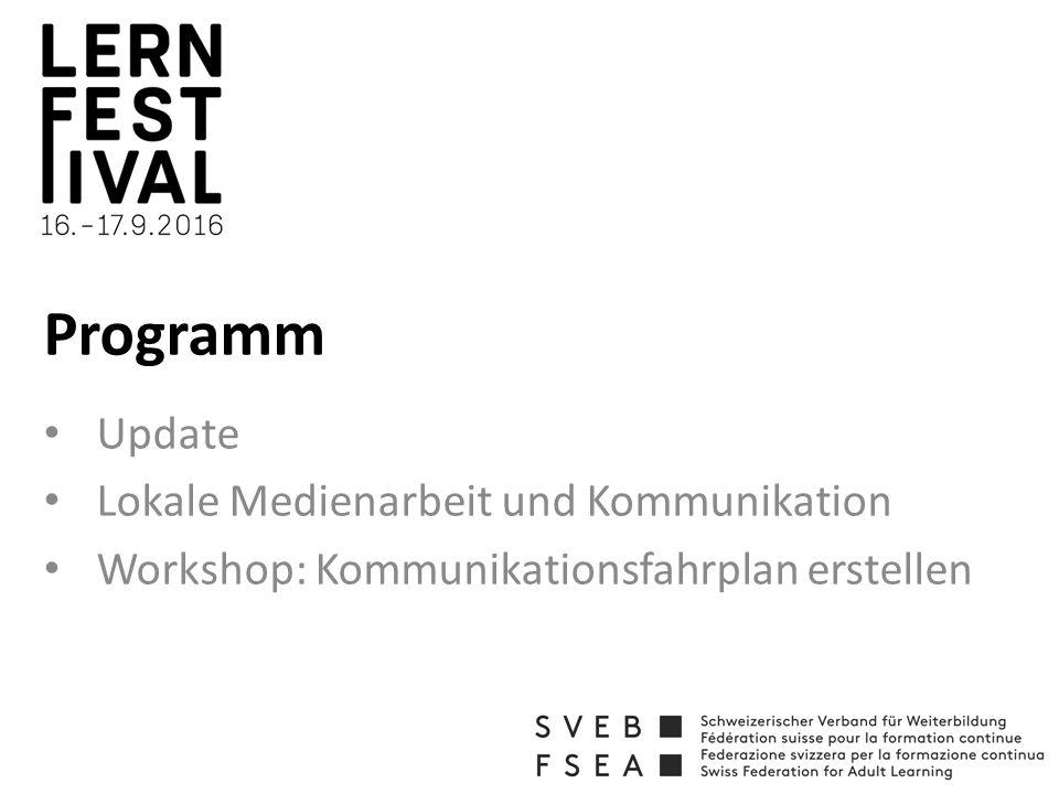 Programm Update Lokale Medienarbeit und Kommunikation Workshop: Kommunikationsfahrplan erstellen