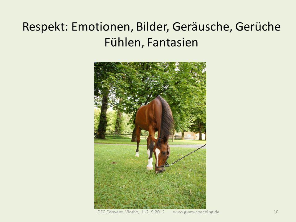 Respekt: Emotionen, Bilder, Geräusche, Gerüche Fühlen, Fantasien DFC Convent, Vlotho, 1.-2.