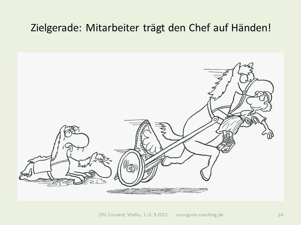 Zielgerade: Mitarbeiter trägt den Chef auf Händen.