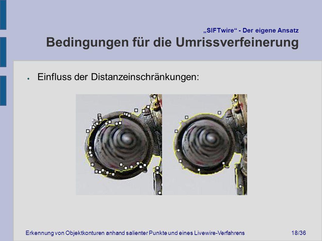 """Erkennung von Objektkonturen anhand salienter Punkte und eines Livewire-Verfahrens18/36 """"SIFTwire - Der eigene Ansatz Bedingungen für die Umrissverfeinerung ● Einfluss der Distanzeinschränkungen:"""