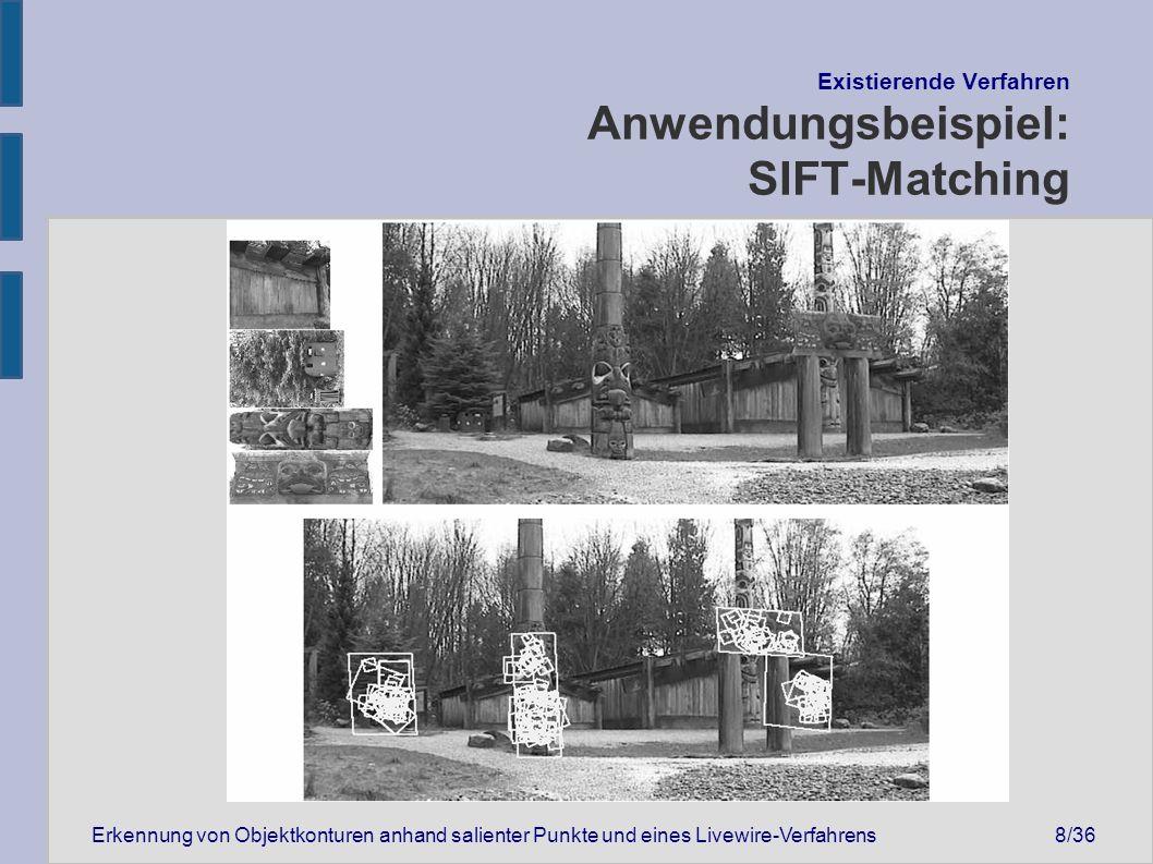 """Erkennung von Objektkonturen anhand salienter Punkte und eines Livewire-Verfahrens19/36 """"SIFTwire - Der eigene Ansatz Umrissverfeinerung II"""