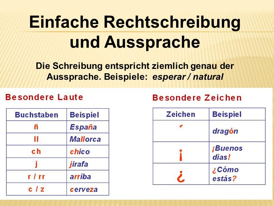 Einfache Rechtschreibung und Aussprache Die Schreibung entspricht ziemlich genau der Aussprache. Beispiele: esperar / natural