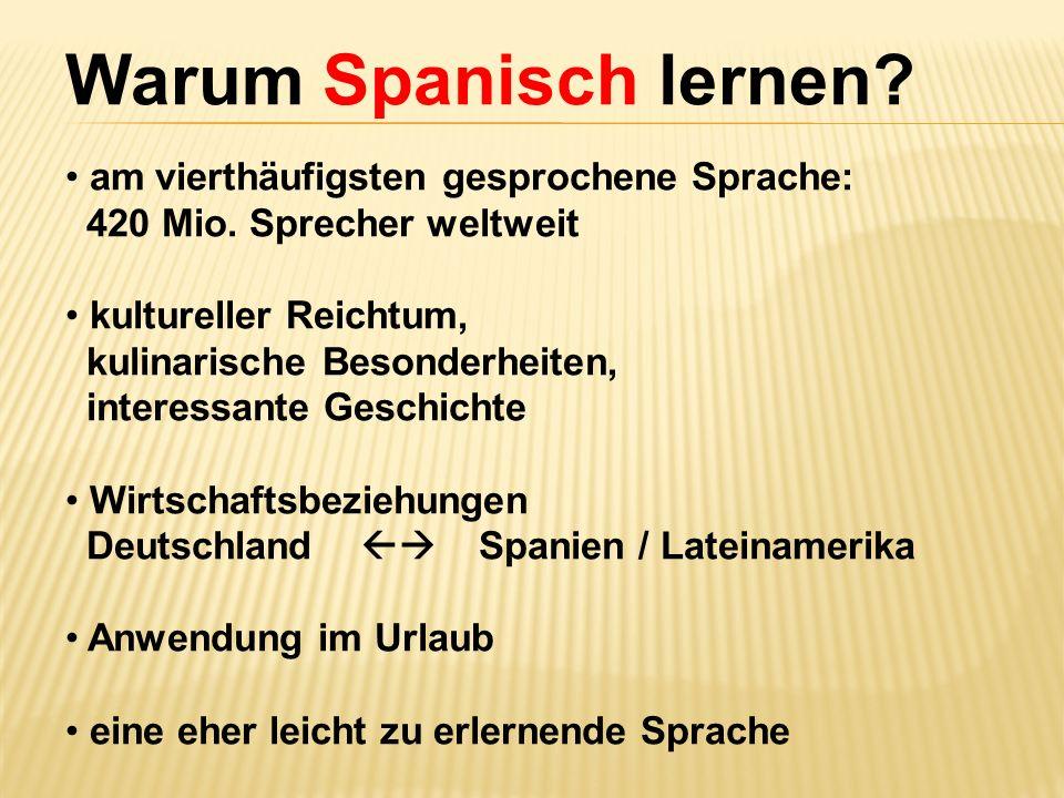 Warum Spanisch lernen? am vierthäufigsten gesprochene Sprache: 420 Mio. Sprecher weltweit kultureller Reichtum, kulinarische Besonderheiten, interessa