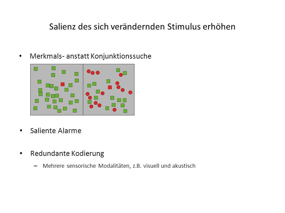 Salienz des sich verändernden Stimulus erhöhen Merkmals- anstatt Konjunktionssuche Saliente Alarme Redundante Kodierung – Mehrere sensorische Modalitäten, z.B.