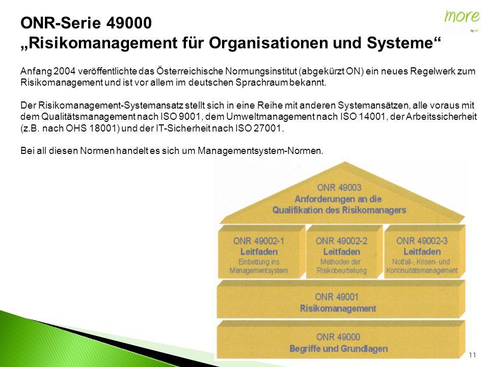 """11 ONR-Serie 49000 """"Risikomanagement für Organisationen und Systeme Anfang 2004 veröffentlichte das Österreichische Normungsinstitut (abgekürzt ON) ein neues Regelwerk zum Risikomanagement und ist vor allem im deutschen Sprachraum bekannt."""