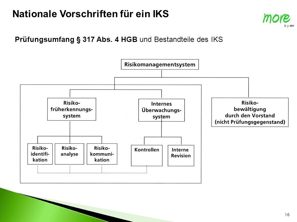 16 Prüfungsumfang § 317 Abs. 4 HGB und Bestandteile des IKS Nationale Vorschriften für ein IKS more b y mr