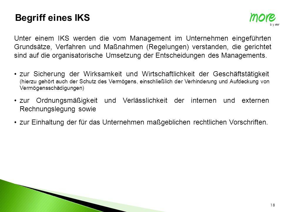 18 more b y mr Begriff eines IKS Unter einem IKS werden die vom Management im Unternehmen eingeführten Grundsätze, Verfahren und Maßnahmen (Regelungen) verstanden, die gerichtet sind auf die organisatorische Umsetzung der Entscheidungen des Managements.