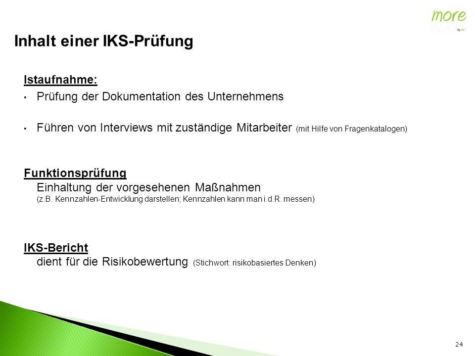 Istaufnahme: Prüfung der Dokumentation des Unternehmens Führen von Interviews mit zuständige Mitarbeiter (mit Hilfe von Fragenkatalogen) Funktionsprüf