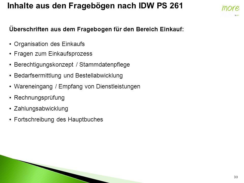 30 Inhalte aus den Fragebögen nach IDW PS 261 Überschriften aus dem Fragebogen für den Bereich Einkauf: Organisation des Einkaufs Fragen zum Einkaufsp