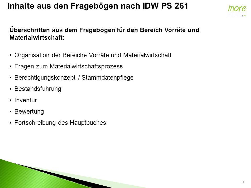 31 Inhalte aus den Fragebögen nach IDW PS 261 Überschriften aus dem Fragebogen für den Bereich Vorräte und Materialwirtschaft: Organisation der Bereic