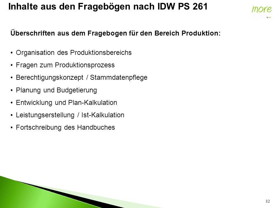 32 Inhalte aus den Fragebögen nach IDW PS 261 Überschriften aus dem Fragebogen für den Bereich Produktion: Organisation des Produktionsbereichs Fragen