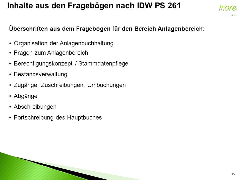 35 Inhalte aus den Fragebögen nach IDW PS 261 Überschriften aus dem Fragebogen für den Bereich Anlagenbereich: Organisation der Anlagenbuchhaltung Fra