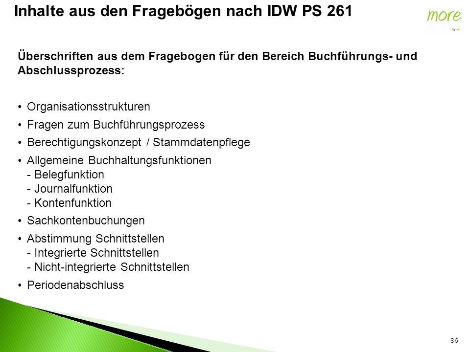 36 Inhalte aus den Fragebögen nach IDW PS 261 Überschriften aus dem Fragebogen für den Bereich Buchführungs- und Abschlussprozess: Organisationsstrukt