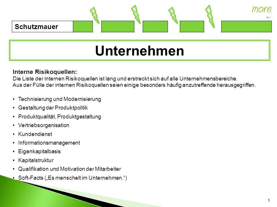 5 Unternehmen Schutzmauer Interne Risikoquellen: Die Liste der internen Risikoquellen ist lang und erstreckt sich auf alle Unternehmensbereiche. Aus d
