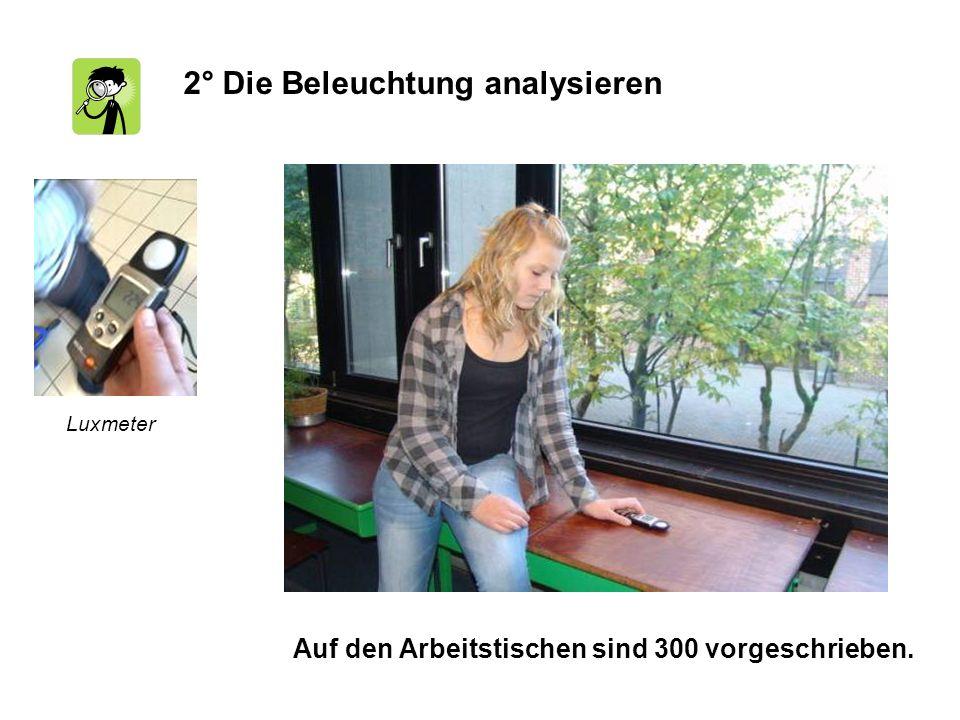 2° Die Beleuchtung analysieren Auf den Arbeitstischen sind 300 vorgeschrieben. Luxmeter