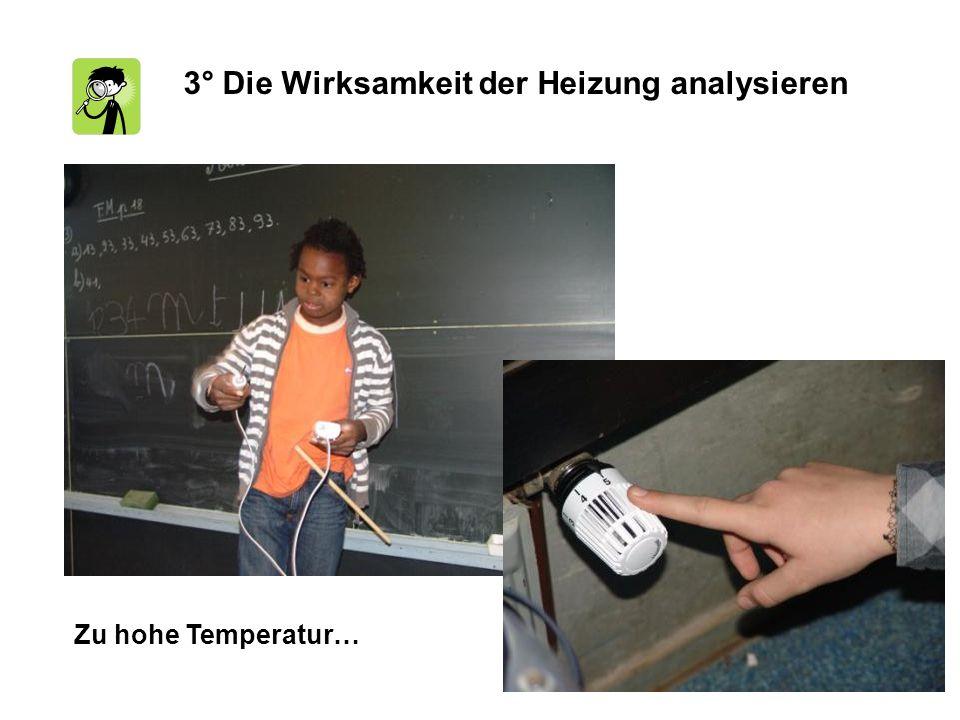 3° Die Wirksamkeit der Heizung analysieren Zu hohe Temperatur…
