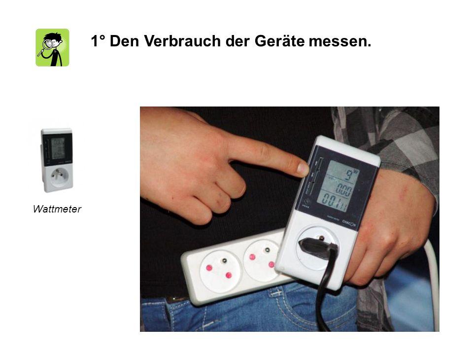 1° Den Verbrauch der Geräte messen. Wattmeter