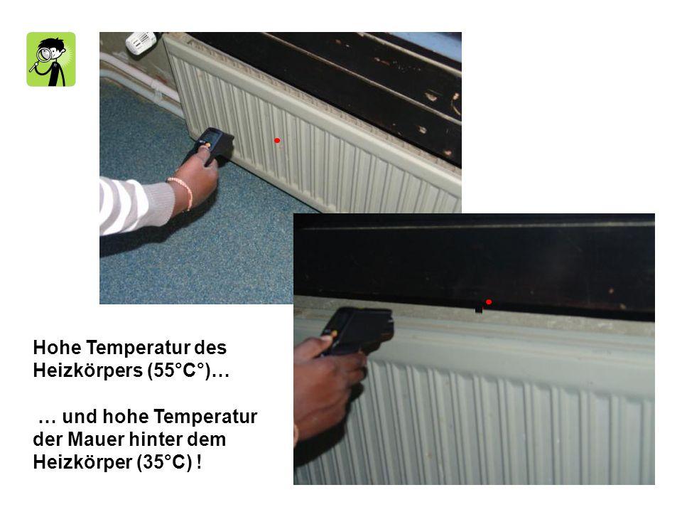 Hohe Temperatur des Heizkörpers (55°C°)… … und hohe Temperatur der Mauer hinter dem Heizkörper (35°C) !