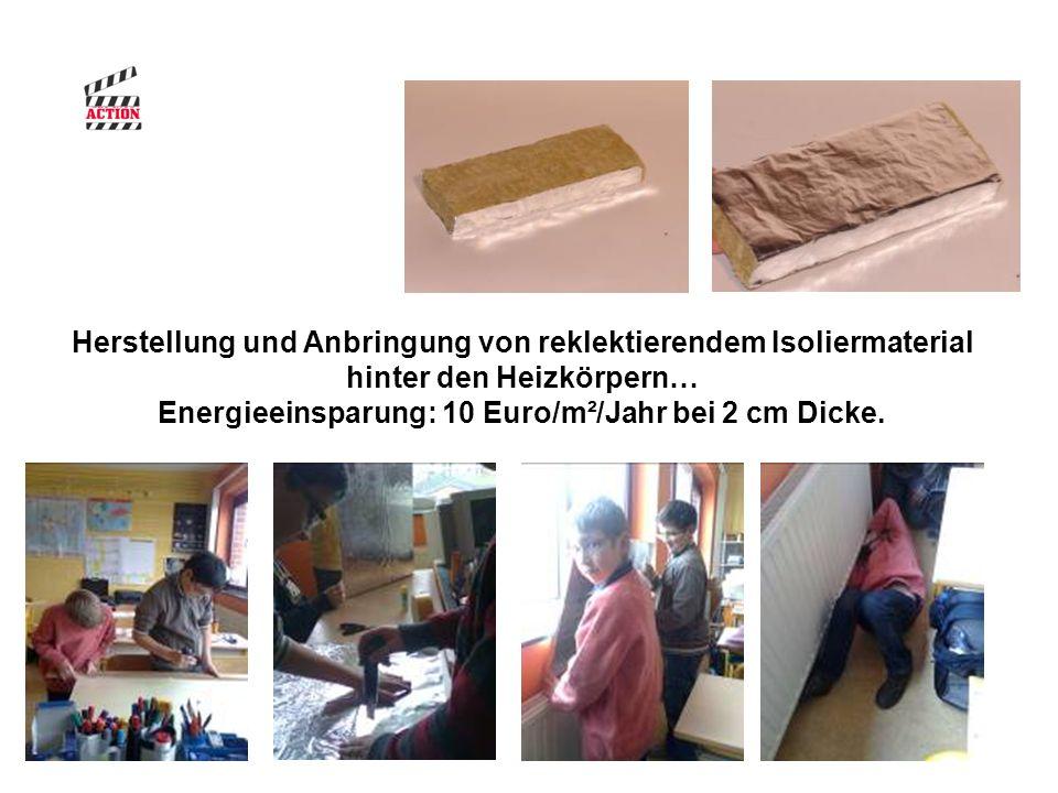 Herstellung und Anbringung von reklektierendem Isoliermaterial hinter den Heizkörpern… Energieeinsparung: 10 Euro/m²/Jahr bei 2 cm Dicke.