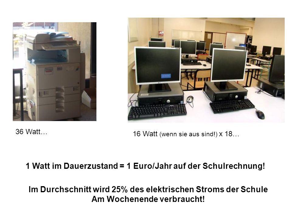 36 Watt… 16 Watt (wenn sie aus sind!) x 18… 1 Watt im Dauerzustand = 1 Euro/Jahr auf der Schulrechnung.