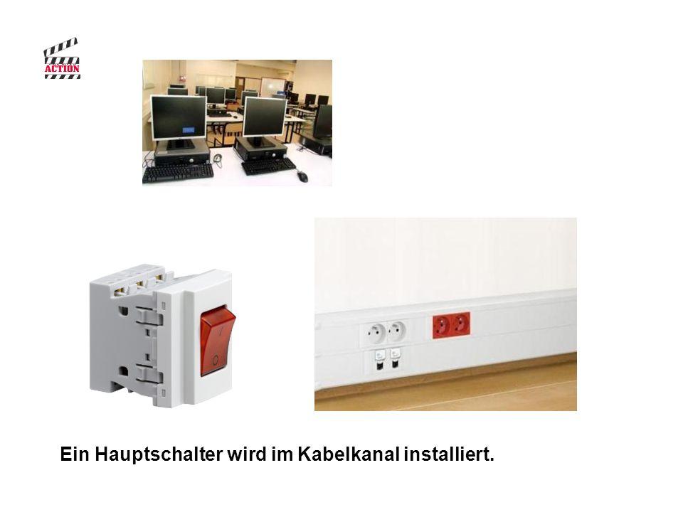 Ein Hauptschalter wird im Kabelkanal installiert.