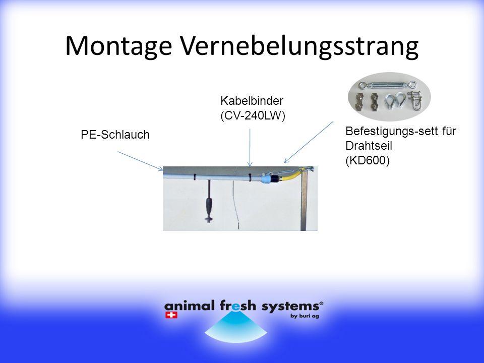 Montage Vernebelungsstrang Befestigungs-sett für Drahtseil (KD600) Kabelbinder (CV-240LW) PE-Schlauch