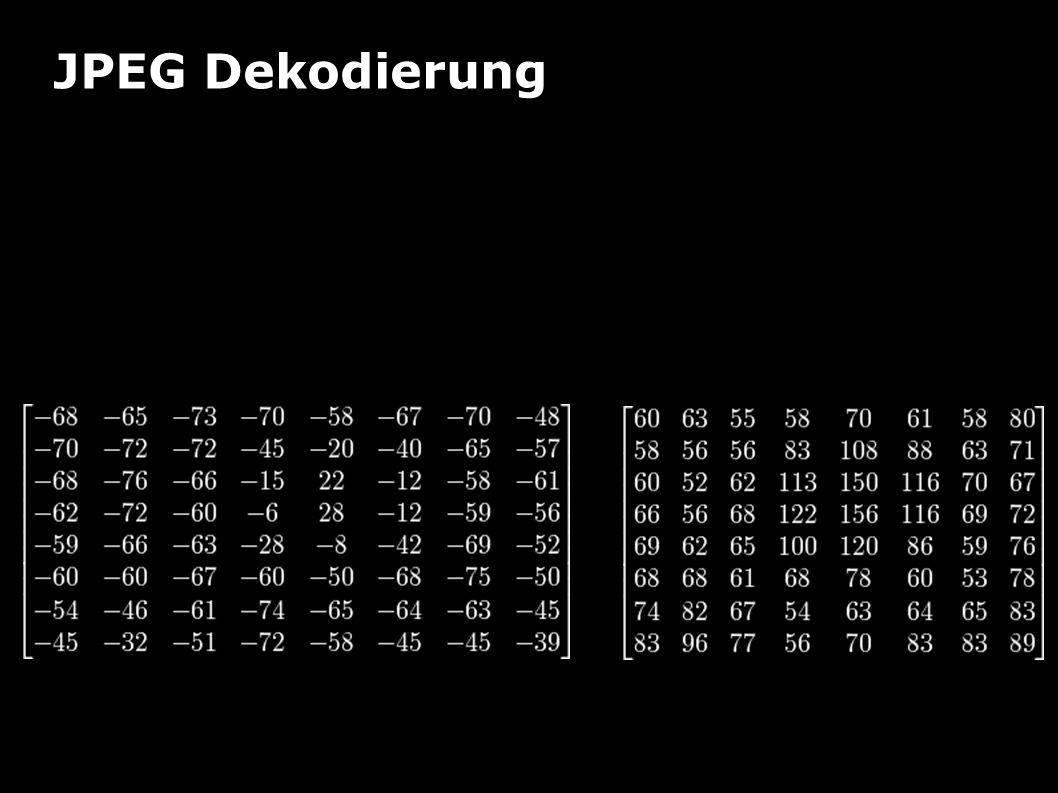 JPEG Dekodierung Beispiel Addition von 128 