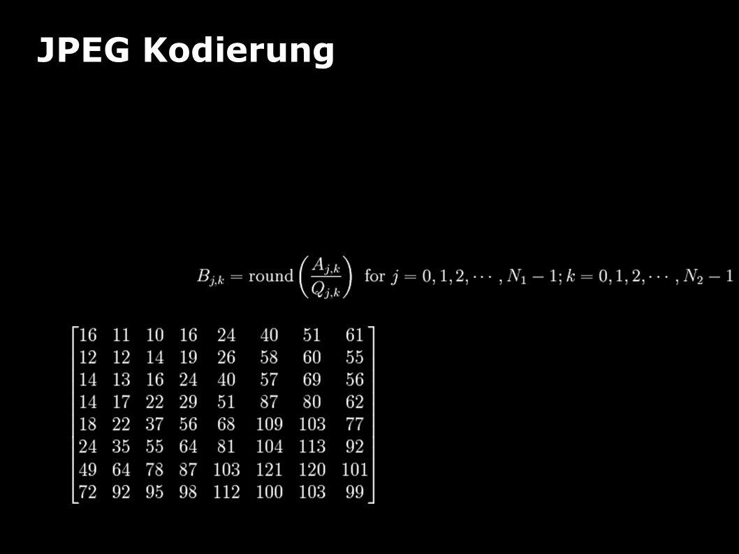 """JPEG Kodierung Beispiel Quantisierung """"Division"""" der transformierten Matrix durch Quantisierungsmatrix eigentlich: Typische Quantisierungs- matrix (JP"""