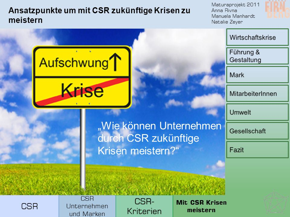 """Maturaprojekt 2011 Anna Rivna Manuela Manhardt Natalie Zeyer Ansatzpunkte um mit CSR zukünftige Krisen zu meistern """"Wie können Unternehmen durch CSR zukünftige Krisen meistern? CSR Unternehmen und Marken Mit CSR Krisen meistern"""