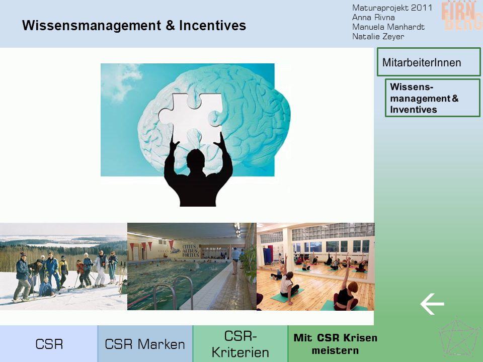 Maturaprojekt 2011 Anna Rivna Manuela Manhardt Natalie Zeyer Wissensmanagement & Incentives  CSRCSR Marken Mit CSR Krisen meistern