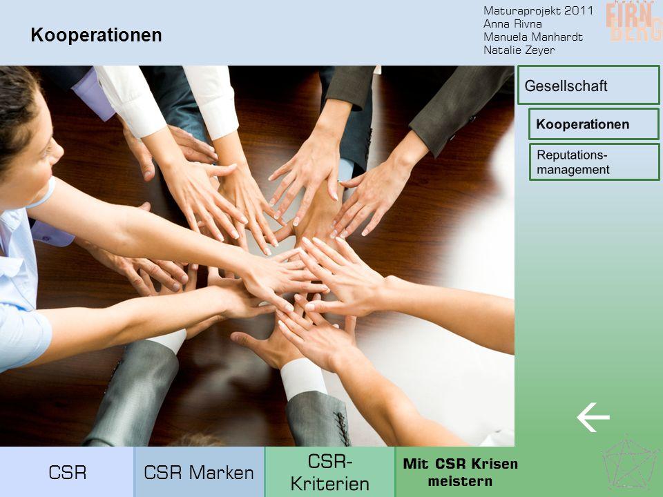 Maturaprojekt 2011 Anna Rivna Manuela Manhardt Natalie Zeyer Kooperationen  CSRCSR Marken Mit CSR Krisen meistern
