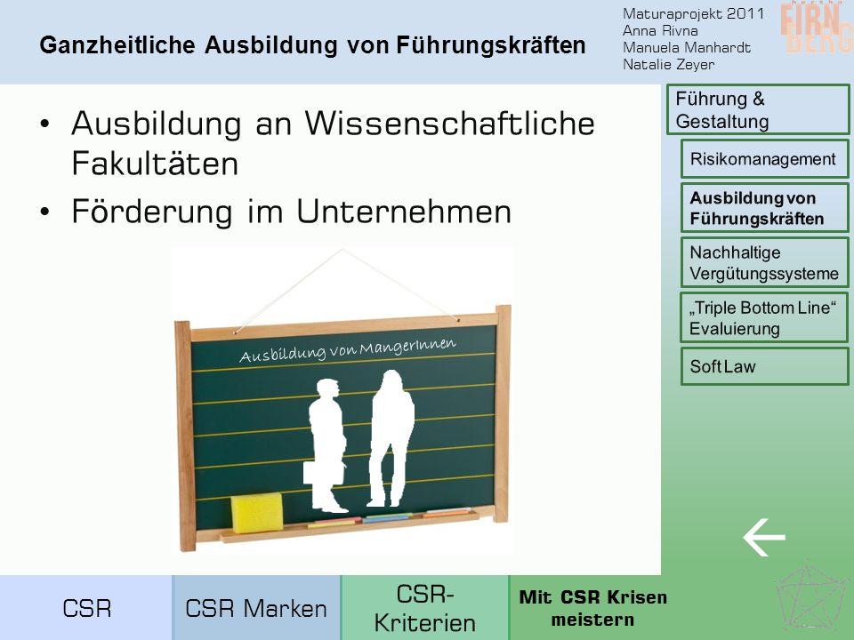 Maturaprojekt 2011 Anna Rivna Manuela Manhardt Natalie Zeyer Nachhaltige Vergütungssysteme  Gehaltsabrechnung CSRCSR Marken Mit CSR Krisen meistern