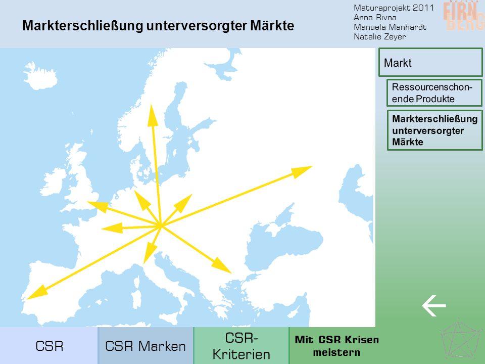 Maturaprojekt 2011 Anna Rivna Manuela Manhardt Natalie Zeyer Markterschließung unterversorgter Märkte  CSRCSR Marken Mit CSR Krisen meistern