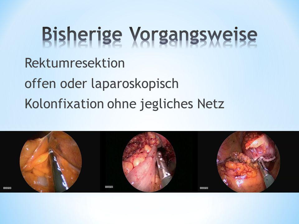Rektumresektion offen oder laparoskopisch Kolonfixation ohne jegliches Netz