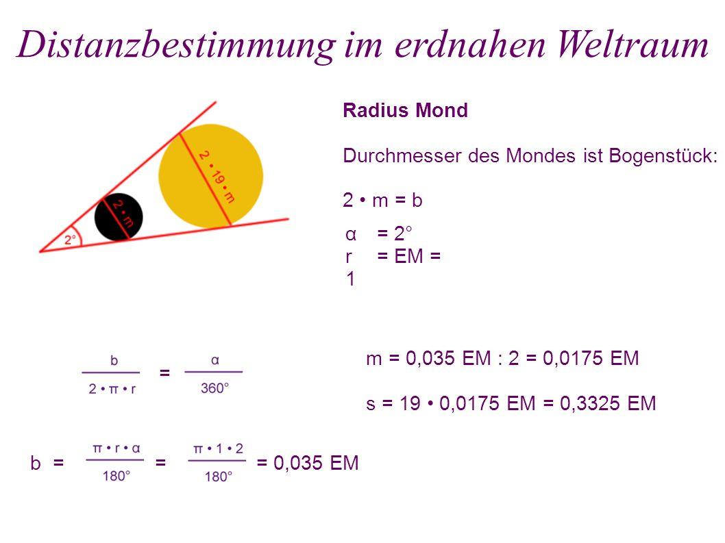 Radius Mond Durchmesser des Mondes ist Bogenstück: 2 m = b Distanzbestimmung im erdnahen Weltraum = b = = = 0,035 EM α = 2° r = EM = 1 m = 0,035 EM :