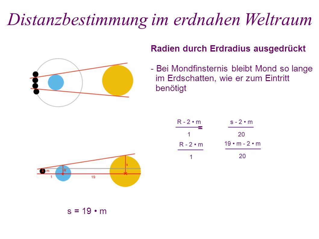 Radien durch Erdradius ausgedrückt - Bei Mondfinsternis bleibt Mond so lange im Erdschatten, wie er zum Eintritt benötigt Distanzbestimmung im erdnahen Weltraum = s = 19 m