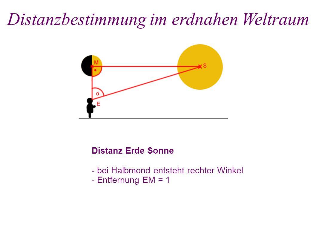 Distanz Erde Sonne - bei Halbmond entsteht rechter Winkel - Entfernung EM = 1 Distanzbestimmung im erdnahen Weltraum