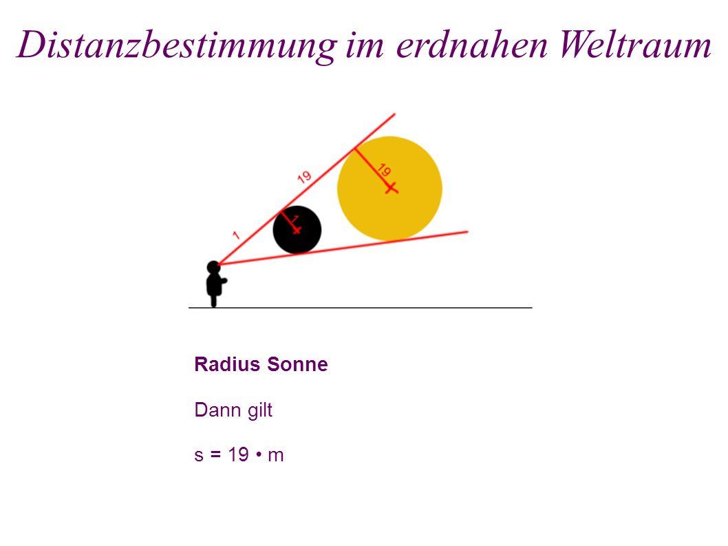 Radius Mond Durchmesser des Mondes ist Bogenstück: 2 m = b Distanzbestimmung im erdnahen Weltraum