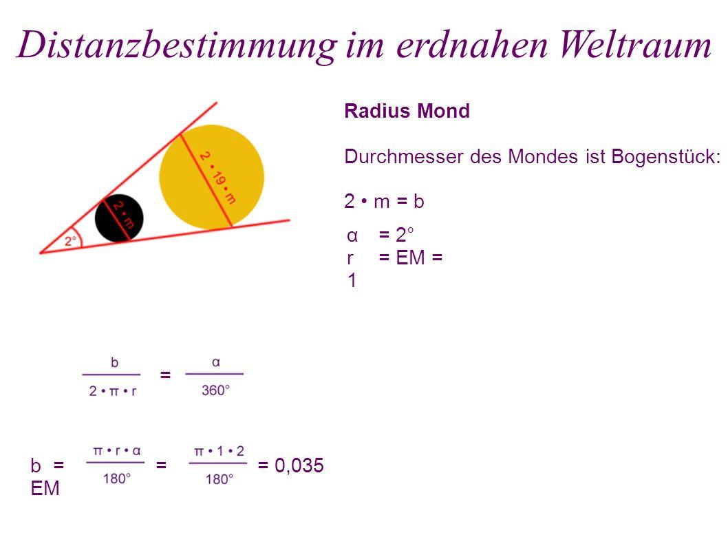 Radius Mond Durchmesser des Mondes ist Bogenstück: 2 m = b Distanzbestimmung im erdnahen Weltraum = b = = = 0,035 EM α = 2° r = EM = 1 m = 0,035 EM : 2 = 0,0175 EM s = 19 0,0175 EM = 0,3325 EM